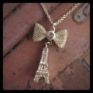 Silver Mesh Bow & Eiffel Tower Pendant Necklace